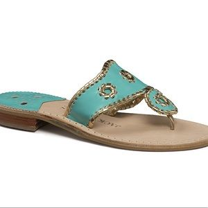 Jack Rogers Nantucket Gold Turquoise Sandals 8
